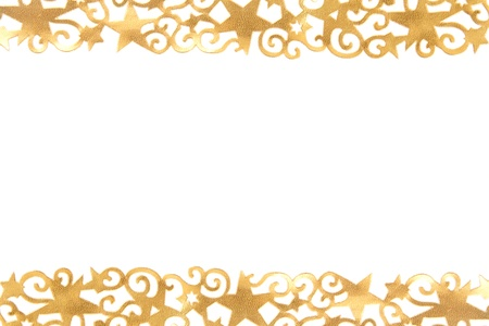Golden ornate stars in front of a white background Stock Photo