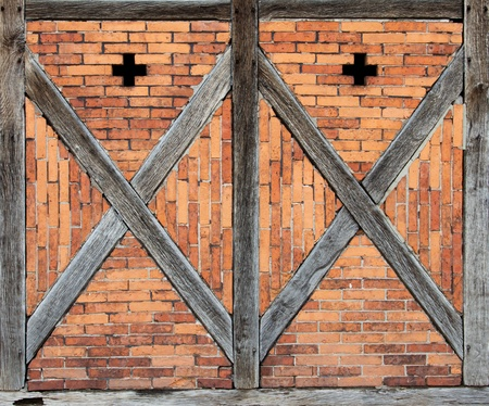 Detail of an old wooden framework front photo