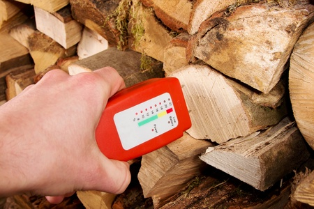 Hand with a wood moisture meter in front of a stack of firewood