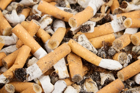 Closeup of many cigarettes in an ashtray photo