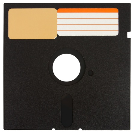 Front of a black floppy disk with labels over a white background