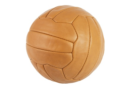 Old brown soccer ball over a white background Standard-Bild