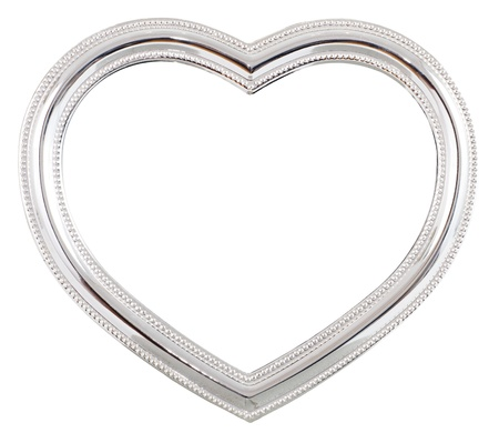 Silver heart shaped picture frame over a white background
