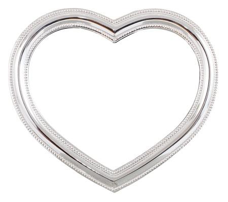 Silber herzförmigen Bilderrahmen über einen weißen Hintergrund Standard-Bild - 12201674