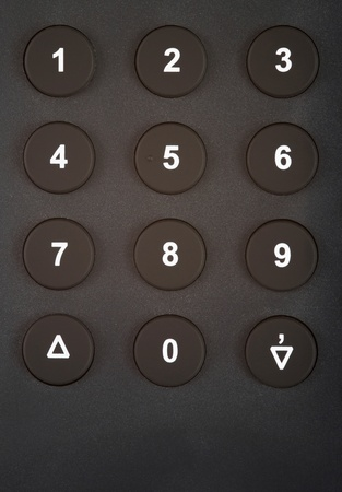 dial pad: Closeup of a numeric keypad with numbers and symbols Stock Photo