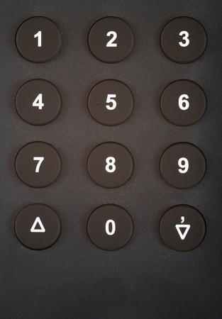 teclado numérico: Primer plano de un teclado numérico con números y símbolos