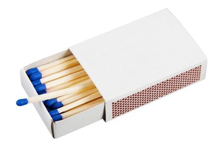 White-Box mit Streichhölzern über einem weißen Hintergrund Standard-Bild - 12681113