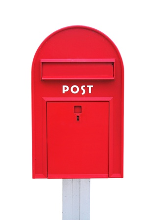Red mail box over a white background photo
