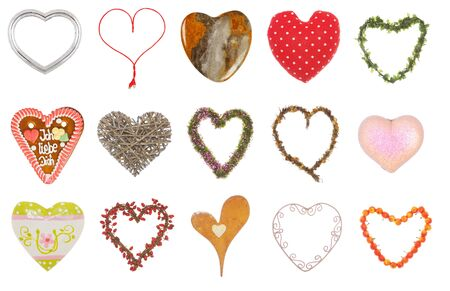 Collection of fifteen different hearts over a white background photo