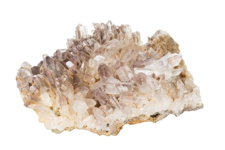Closeup of a mountain crystal over a white background photo