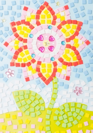 tinkered: Colorful tinkered flower with many small sponge squares Stock Photo