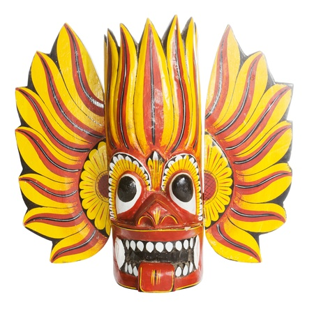 Traditional colorful Sri Lanka mask over a white background