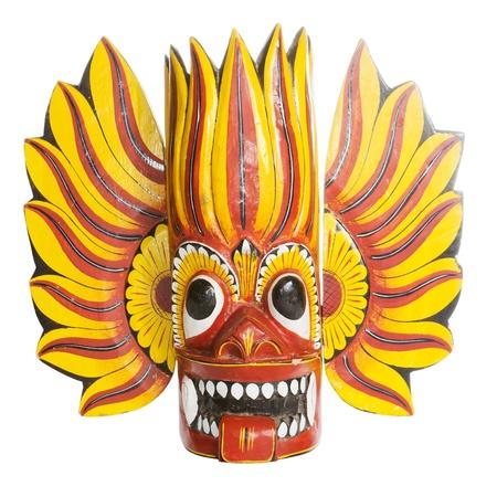 Traditionelle bunte Sri Lanka Maske über einem weißen Hintergrund Standard-Bild - 14897664