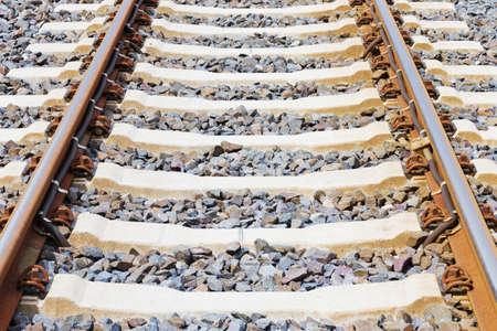 Horizontal closeup of railway lines in sunlight Stock Photo - 14965197