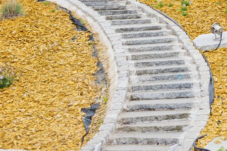 Detail of curved stairs in a new arranged garden Stock Photo - 18225444