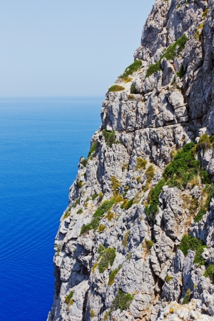 Detail of a cliff coast in Mediterranean Sea in Spain in front of a blue sky