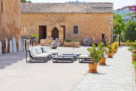 Comfortable interior courtyard of a spanish estate in sunlight