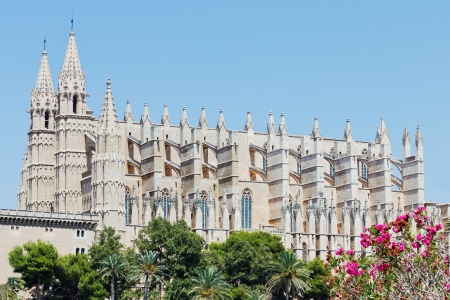 Huge cathedral in Spain in front of a blue sky