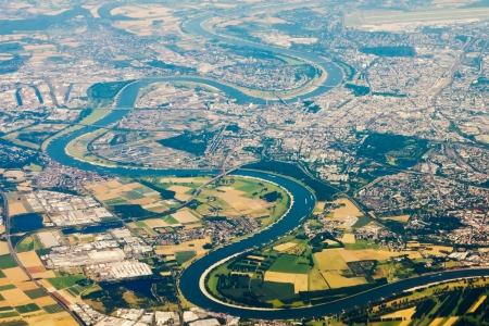 Aerial photo of the curved route of the Rhine in Germany Stock Photo