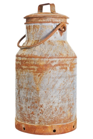 Old rusty milk can over a white background photo