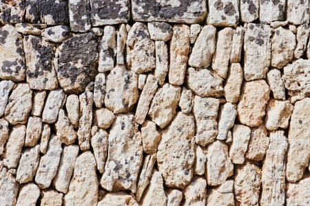 Abstract closeup of a brick wall with natural stones Standard-Bild