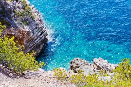 Detail of a cliff coast in Mediterranean Sea in Spain