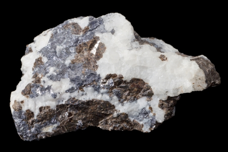 Closeup of a mineral stone over a black background