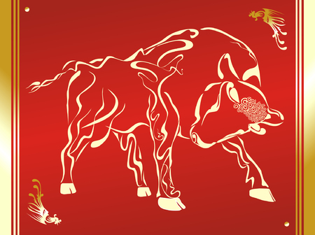 made in china: Bull. Horoscope sign. Hand drawing. Illustration