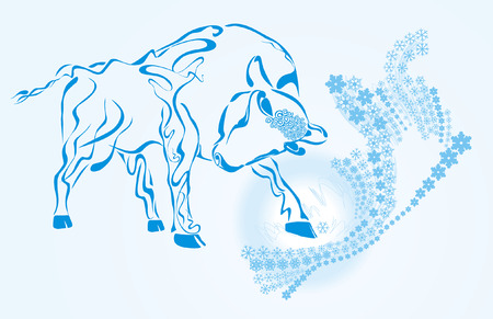 Snow bull. Hand drawing Illustration