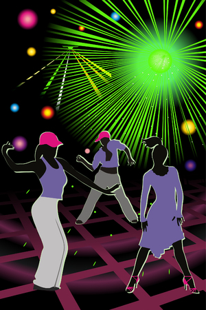 mirrorball: Bright illustration discotheque whith silhouettes people Illustration