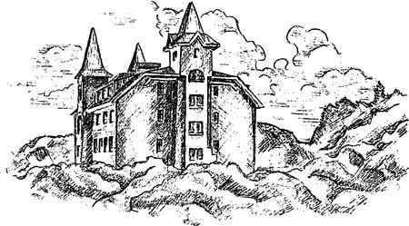 Old castle. Hand pencil sketch. Vector