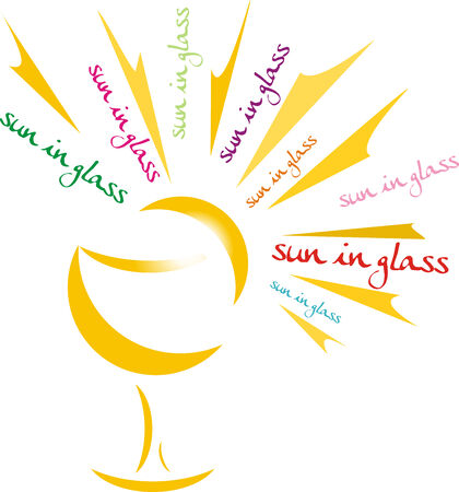 sun  glasses: sun in glass Illustration