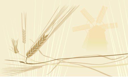 wheat ears and windmill Illustration