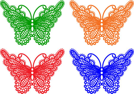 ornaments vector: butterflies in different colors Illustration
