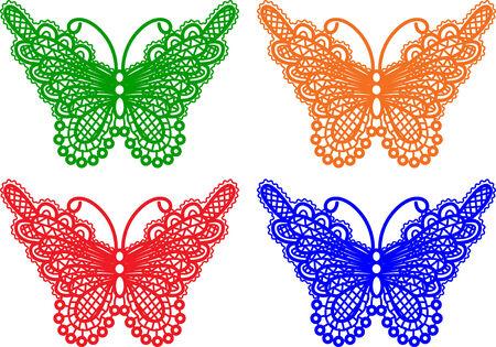 ornaments vector: farfalle di diversi colori