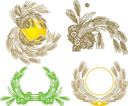 sheaf: cuatro gavilla de trigo Vectores