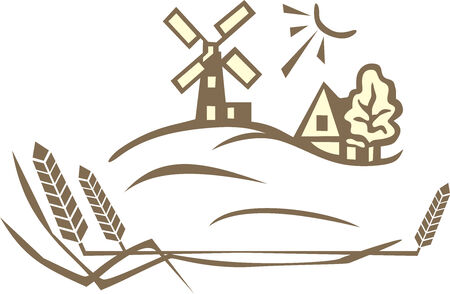 wheat landscape Vector