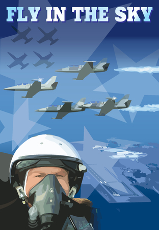 fighter pilot: Poster pilot Illustration