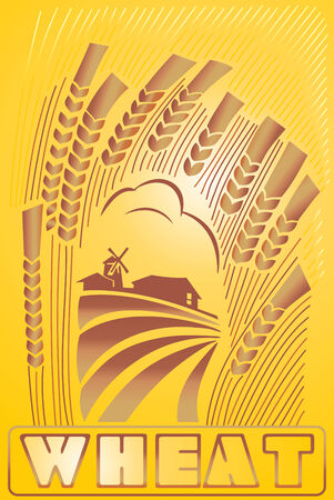 Label wheat Vector