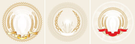 Three laurel wreath and ribbon. Vector illustration Illustration
