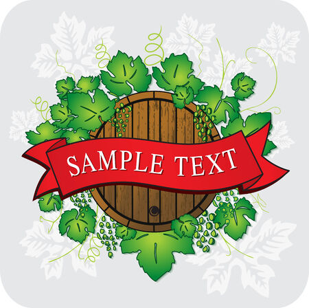 grape and barrel with banner tape Stock Vector - 6193222
