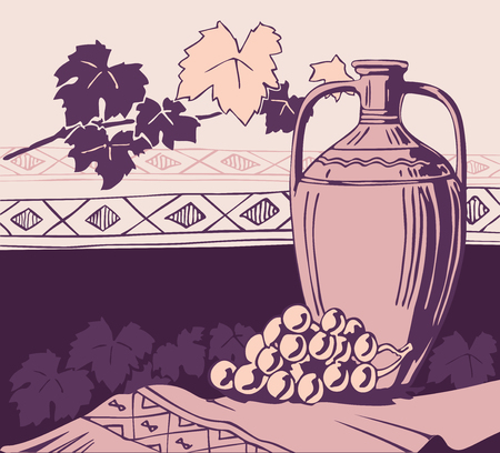 vasi greci: Vecchia anfora e vino Vettoriali