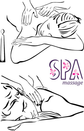 spa resort: Massage illustrations Illustration
