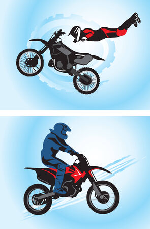 stunt: Jumping motorcyclist -  illustration