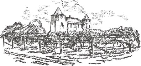 Vintage - vineyard and castle (label design)