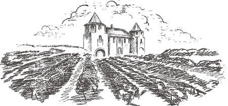 Vintage - vineyard and castle (label design) Stock Vector - 7482010
