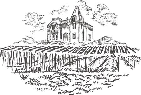 Vintage - vineyard and castle (label design) Stock Vector - 7481994