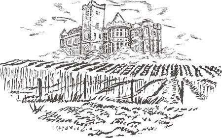Vintage - vineyard and castle (label design) Stock Vector - 7481993