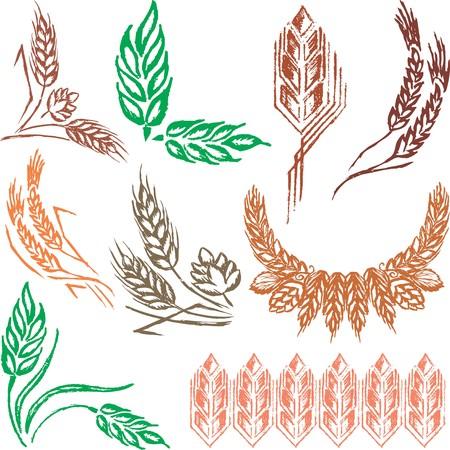Creative wheat ears and sheafs