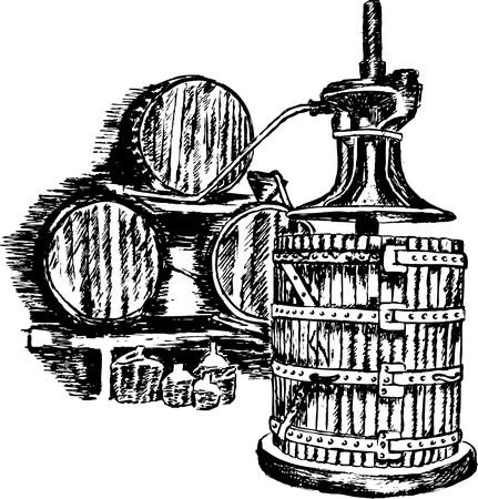Wine press illustration whith barrel Vector